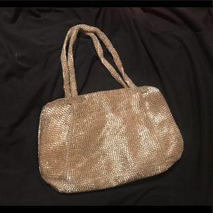 Handbags - VTG Silver Metallic Raised Beaded Bag